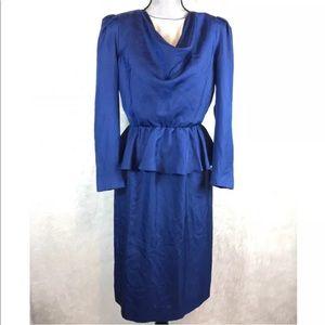 Vintage 70s 80s Leslie Fay Peplum Dress Cowl Neck
